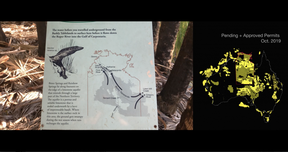 Video Still, *INFRACTIONS*, 2019, 1:03:00, HD video, split screen with text, Dolby 5.1  Left: Map connecting Mataranka thermal springs to NT groundwater flows.  Right: National map of prospective gas permits, Oct, 2019. Yellow = Approved. Green = Under application. A review conducted by UTS Jumbunna Indigneous House of Learning found most - if not all - permits in the NT were issued in the absence of free, prior and informed consent.
