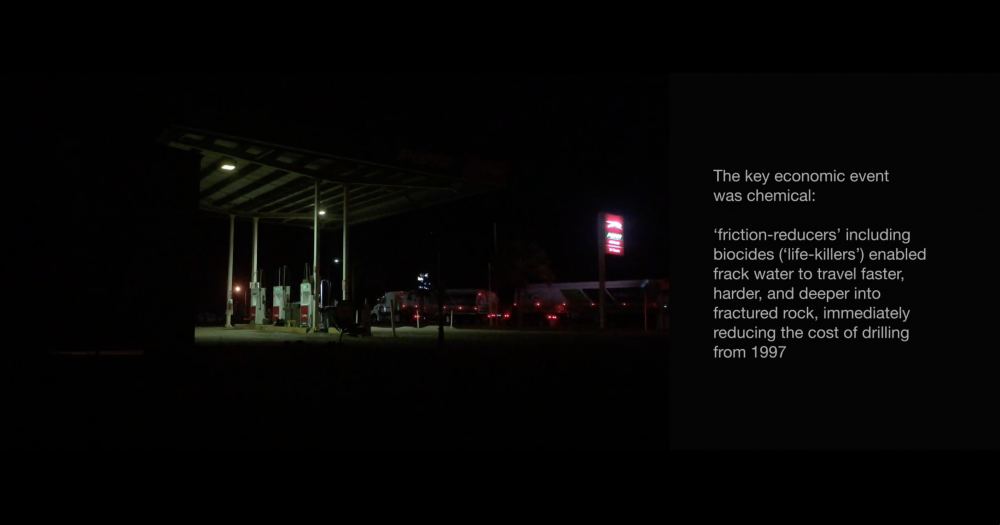 Video Still, *INFRACTIONS*, 2019, 1:03:00, HD video, split screen with text, Dolby 5.1  Early fracking experiments, accelerated in the USA in the wake of the 1973 oil embargo, were trialled simultaneously in Australia. Current gas plans globally mean fossil emission 'lockins' that far exceed habitable UN temperature goals.