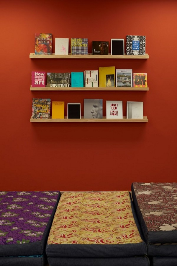 *Layover*, 2019  Layover ancillary room (reading shelves).  Image: Sam Hartnett 2019