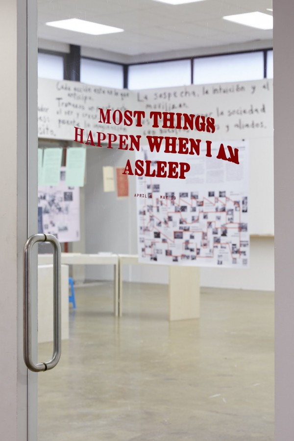 *Most Things Happen When I Am Asleep*, 2018  Entrance, Vinyl design by Son La Pham.DDMMYY Design.  Image: Sam Hartnett 2018