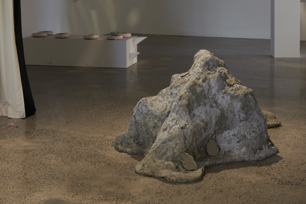*Paeroa* Ashleigh Taupaki Concrete forms of the Kaimai and Coromandel-Moehau mountain ranges. 2020  *Kei Matairangi tōku kainga ināianei* Louie Zalk-Neale Video and Found objects 2020