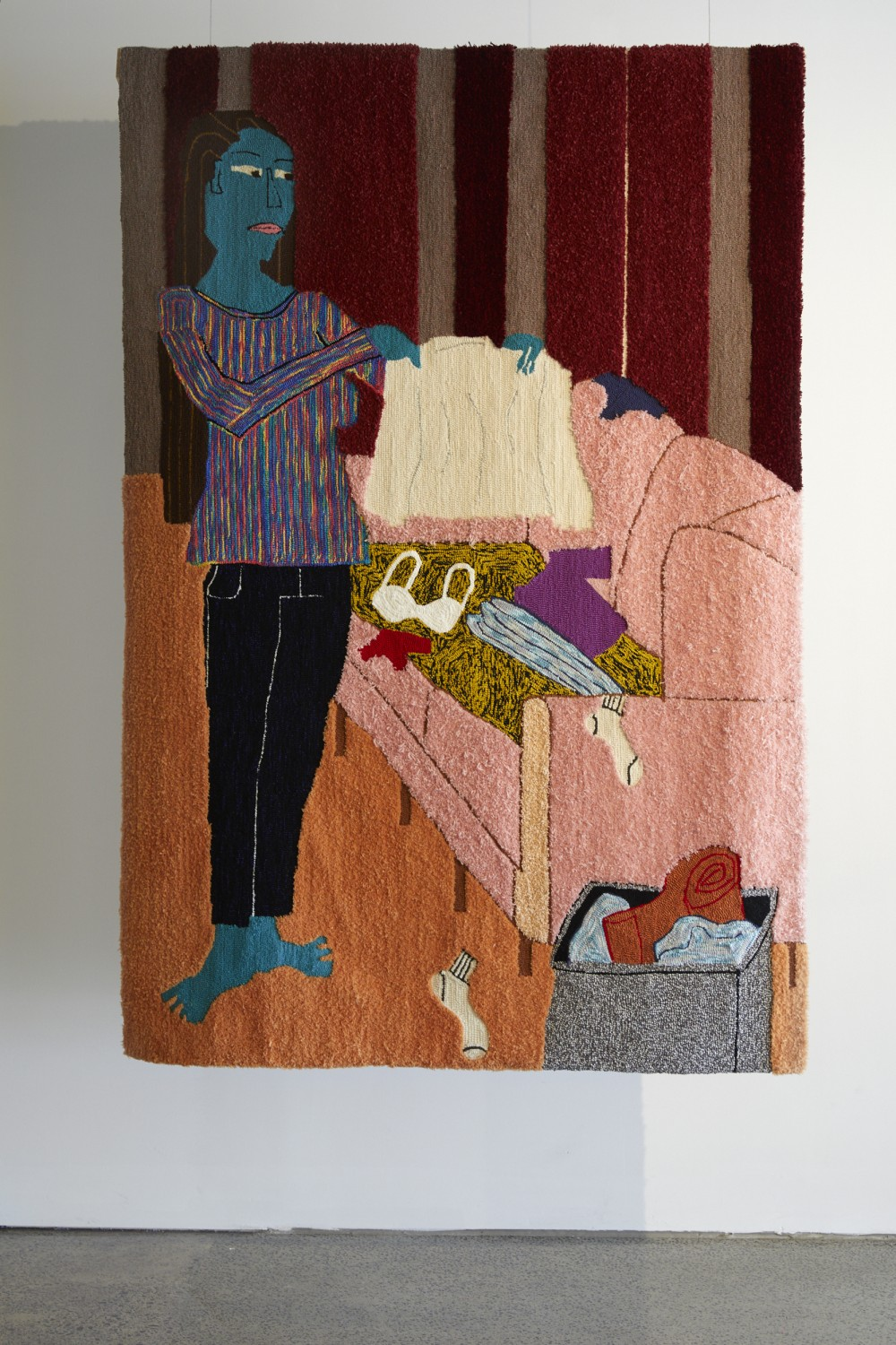 *Nanny* Claudia Kogachi From the series *All The Careers I've Ever Considered Doing In Order To Finance My Art Career* Machine tufted rugs 1520 x2140 2020  Image: Sam Hartnett