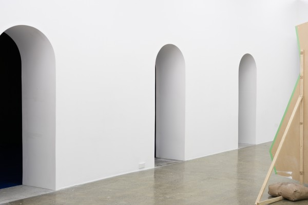 Charlotte Drayton *Flexible spaces for happy people* jointing compound, MDF, ¼ Spanish white house paint, Mercator alabaster wall sconces 2016