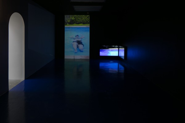 Louisa Afoa *Swimming Pool I* two channel video on loop, 06:00mins 2016  *Swimming Pool II* projected single channel video on loop, 06:00mins 2016  *A pool is not the Ocean*  text 2016