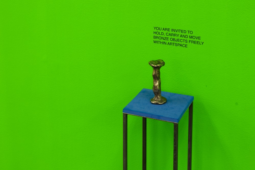 Hannah Valentine [and throughout main gallery] *Actionadaptation* cast bronze, steel, foam, furniture castors and FilmPro Digital Green acrylic 2016
