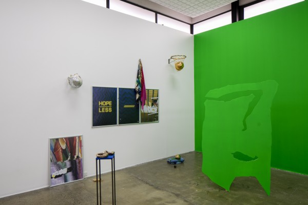 Mark Schroder *There are too many white men in this world / The victims all had one thing in common* 2016  Hannah Valentine [and throughout main gallery] *Actionadaptation* cast bronze, steel, foam, furniture castors and FilmPro Digital Green acrylic 2016