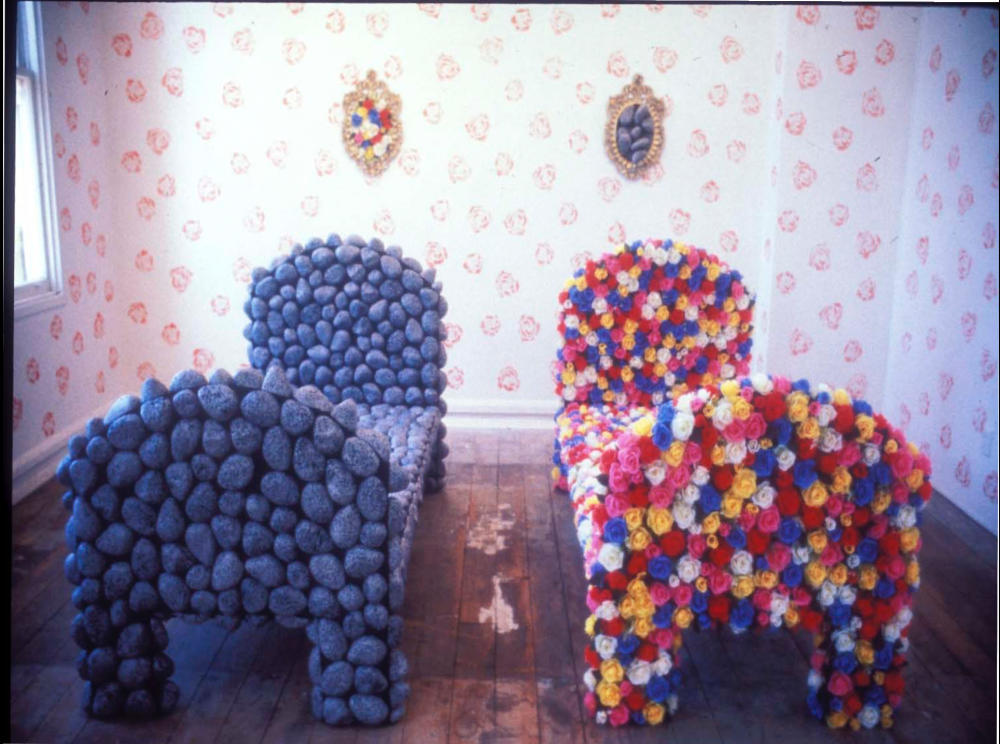 From the archive:  Installation view of Judy Darragh's work *Rock and rose bed (The bed you make is the bed you lie in)* (1989-1996) in *Occupied Zone *(group) at Artspace, 1989. This work is now held in the collection of Auckland Art Gallery Toi o Tāmaki.