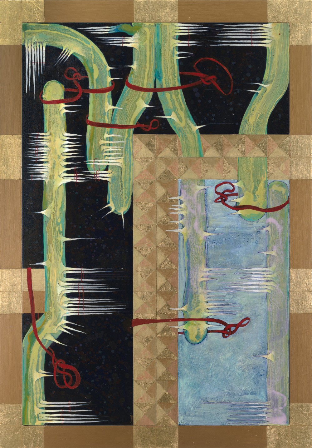 The work Julia Morison has generously contributed to *When The Dust Settles*: Julia Morison *Omnium Gatherum 59* 2018 acrylic and gold leaf on PVC board and timber frame 1000 x 700 x 40 mm Courtesy of the artist and Sumer, Tauranga