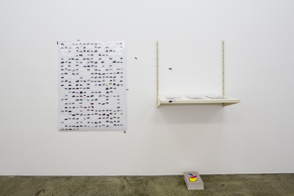 From the archive:  Installation view of Ella Sutherland's work *Popular Brands to Steal* at Artspace Aotearoa in *New Artists Show part I* (group), 18 October — 17 November 2012